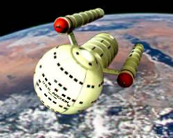 USS Archon in Earth orbit